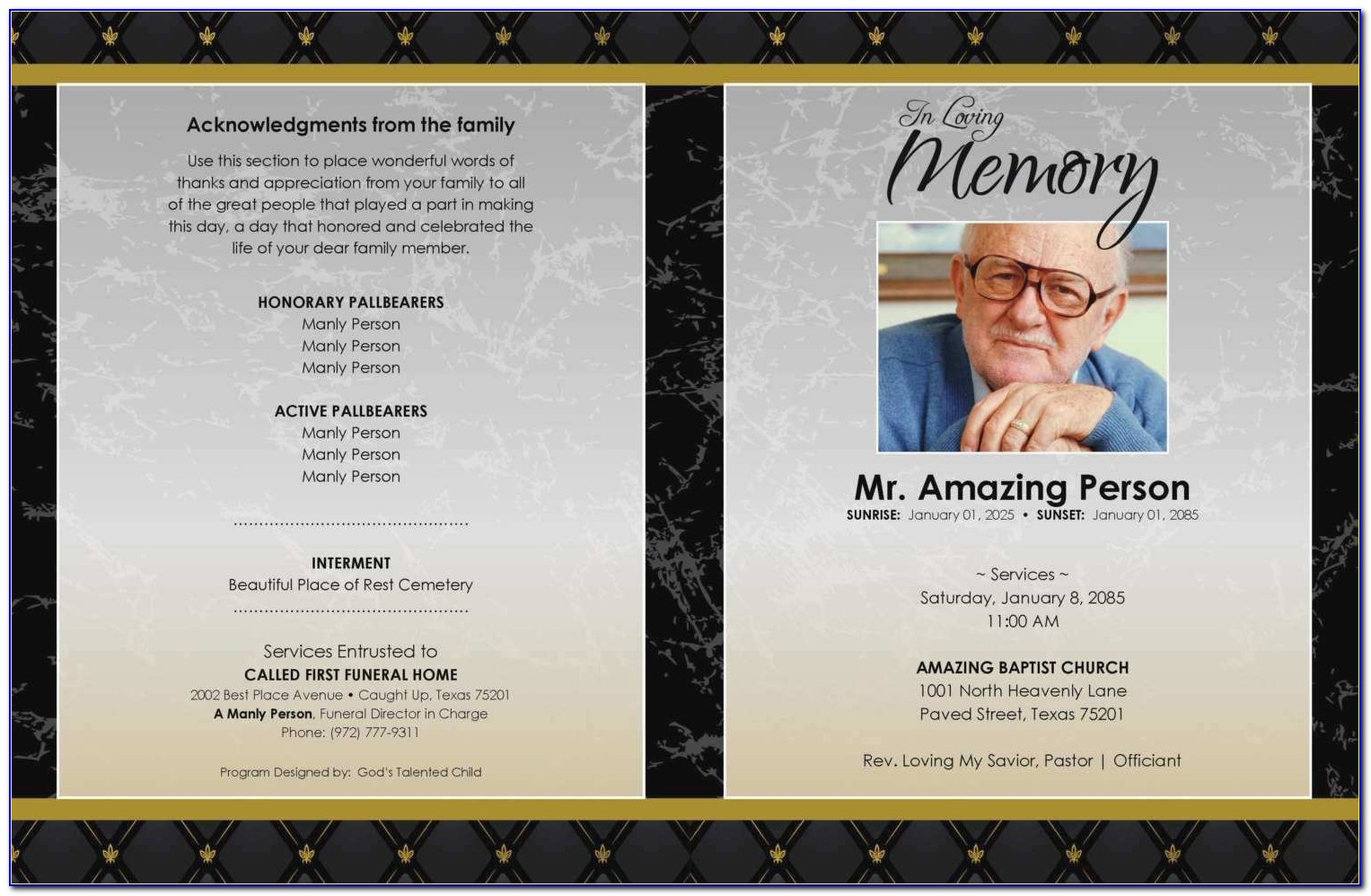 Free Obituary Program Template Download Fresh Nice Obituary Pamphlet Template Gallery Trifold Funeral