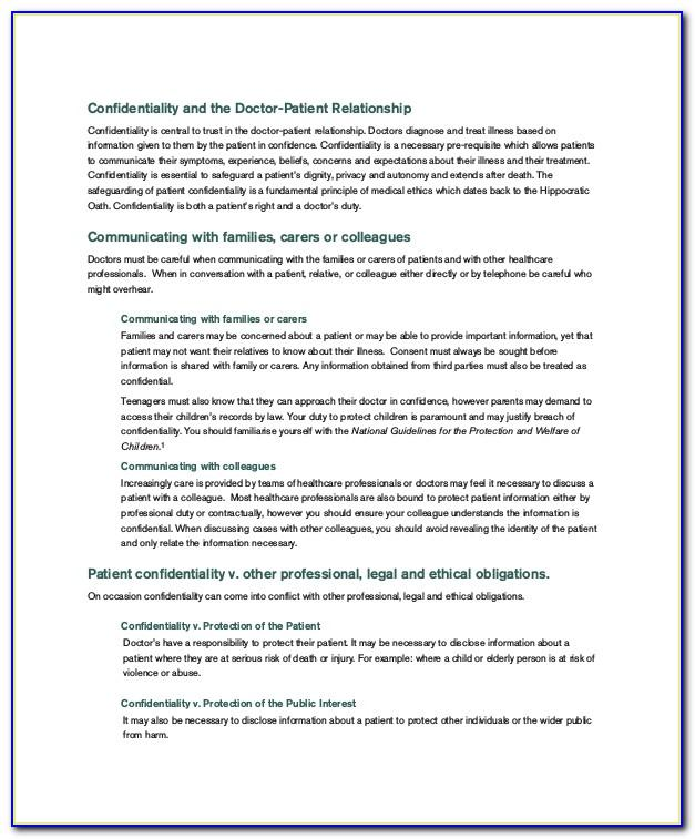 Mental Health Confidentiality Agreement Template
