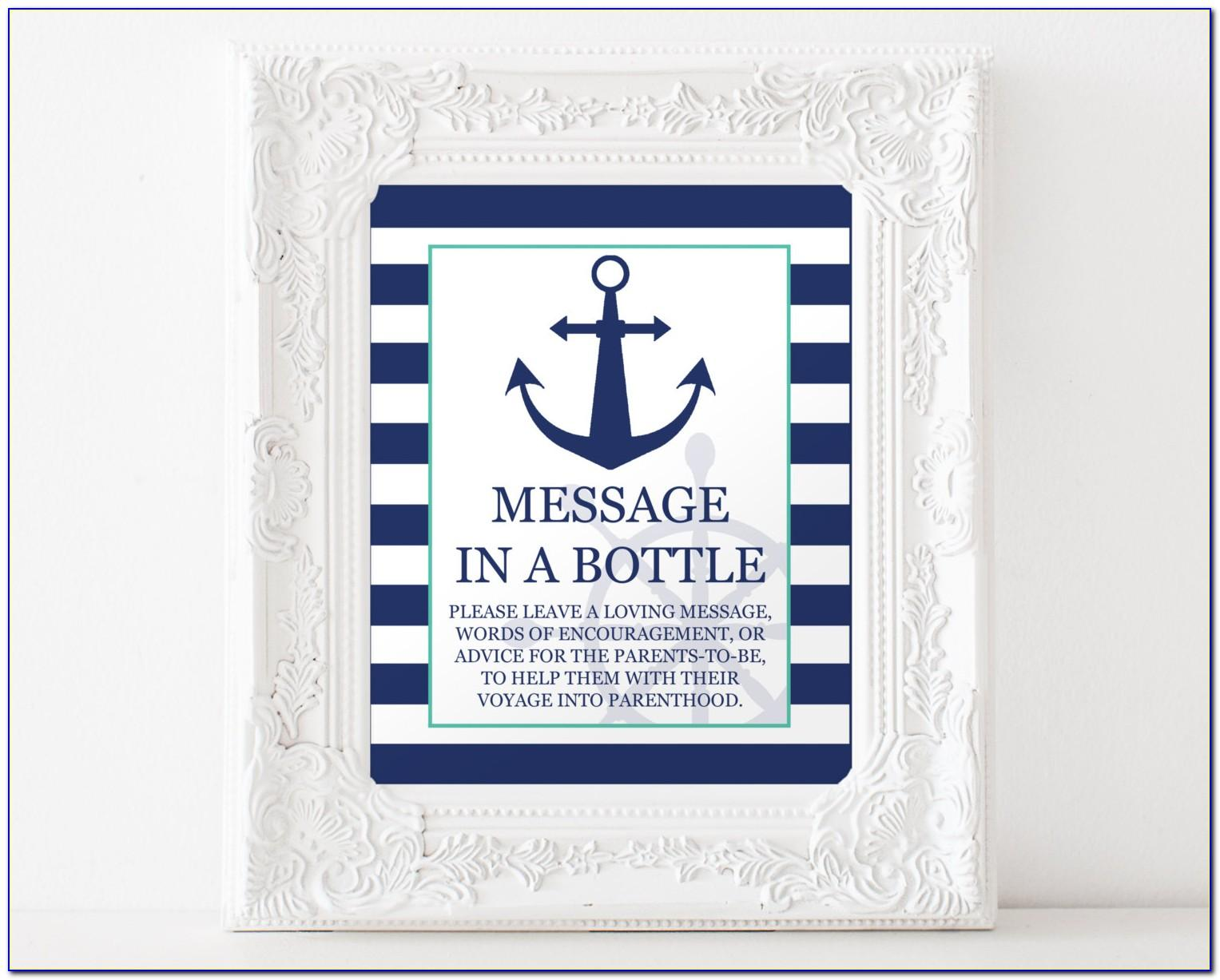 Message In A Bottle Baby Shower Printable