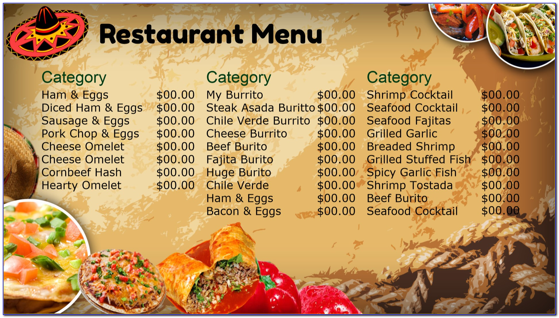 Mexican Restaurant Menu Templates Free Download