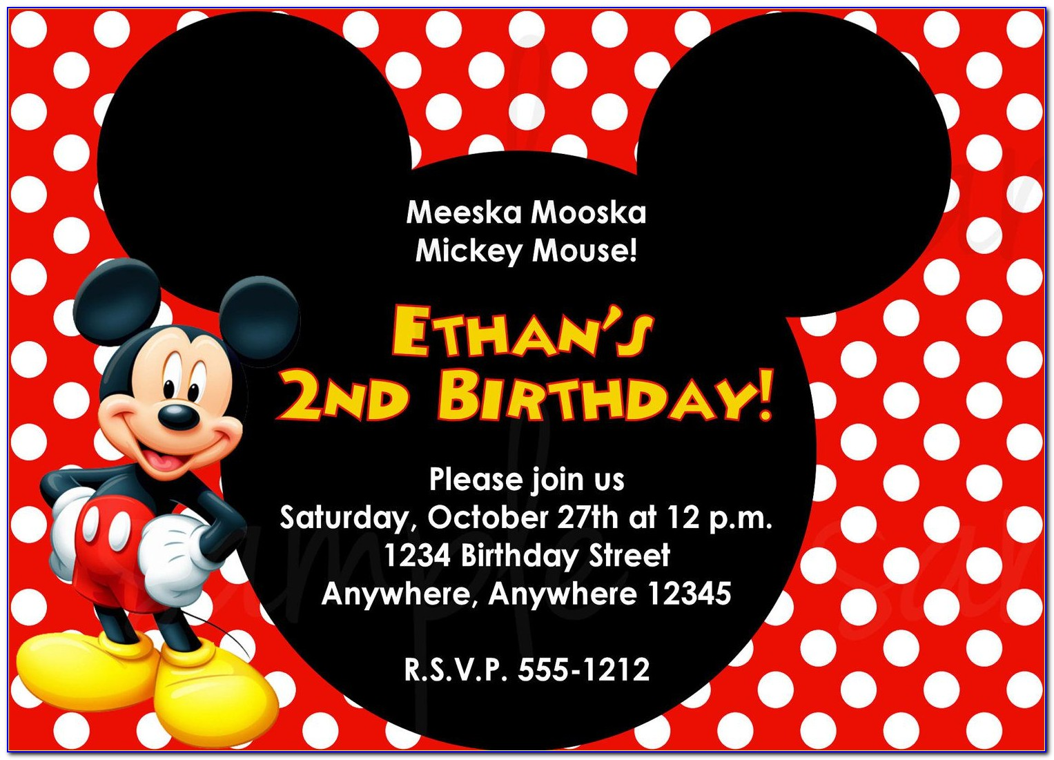 mickey mouse birthday invite template