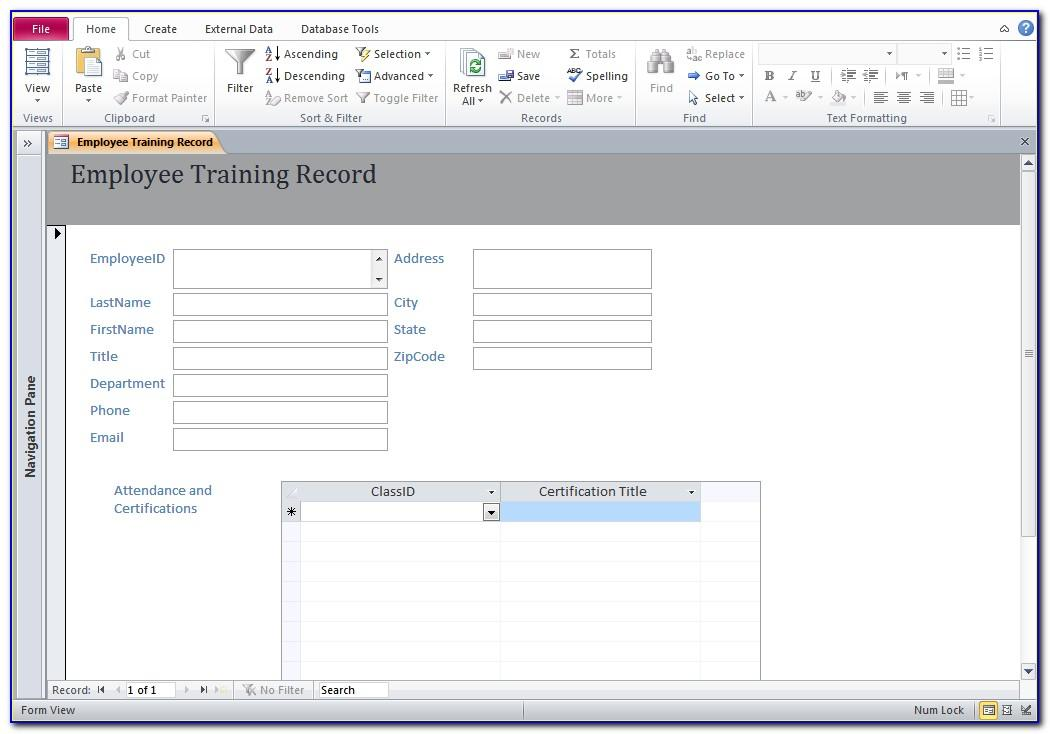 Microsoft Access Employee Training Database Template Free Download