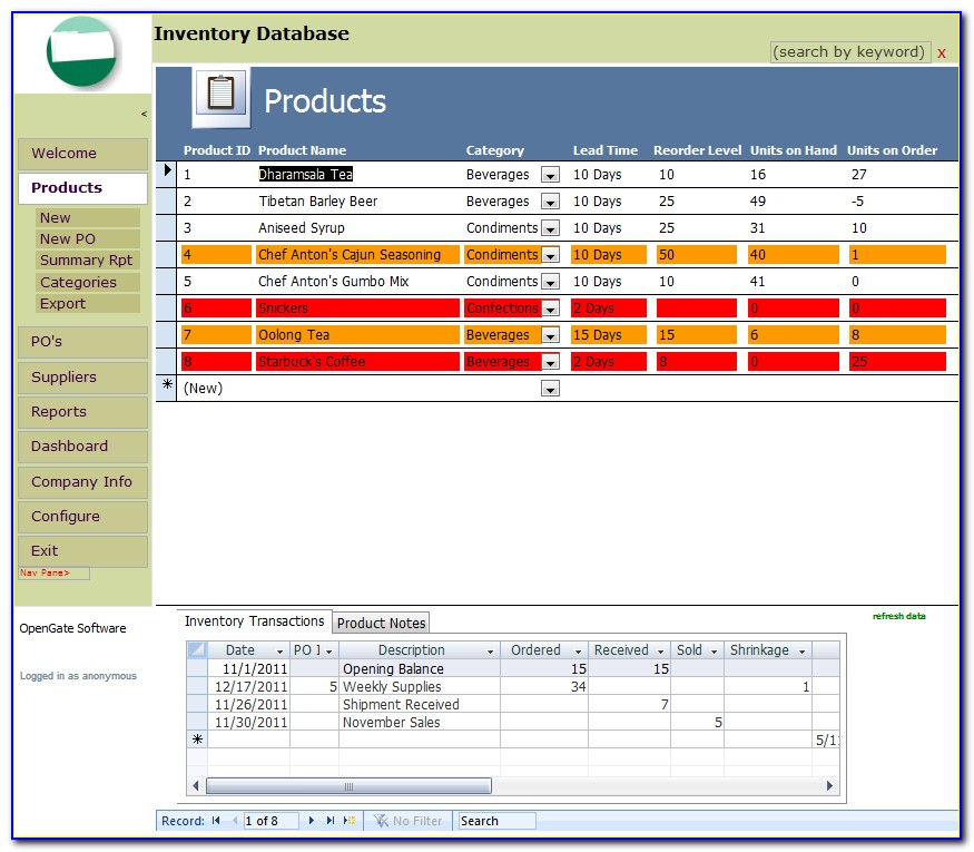 Microsoft Access Inventory Management Database Template
