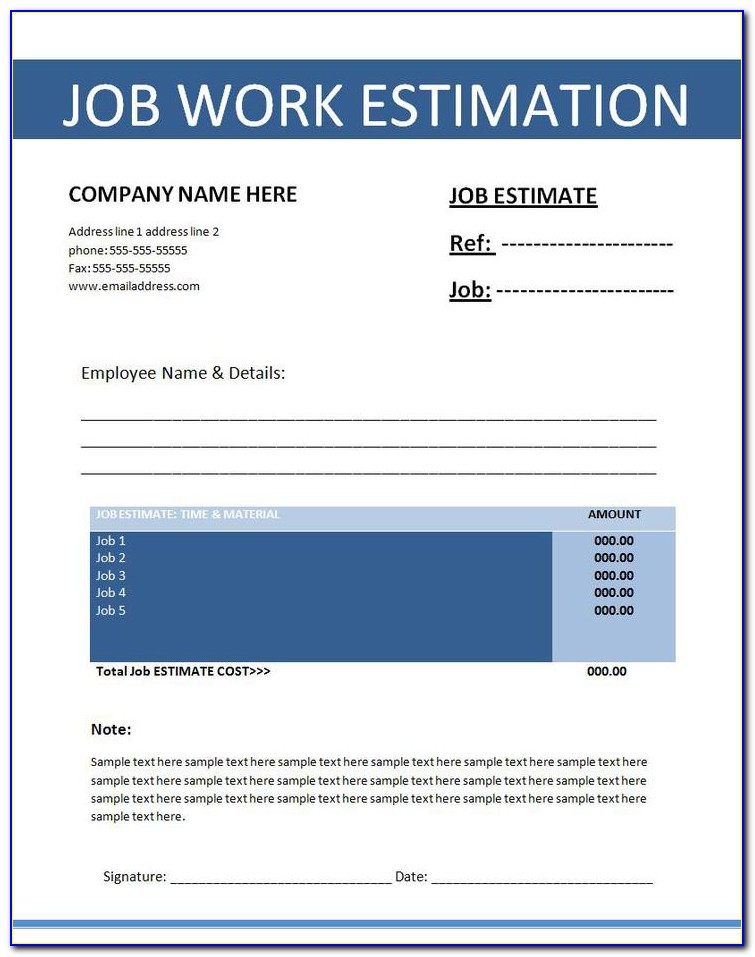 Microsoft Excel Construction Estimate Template