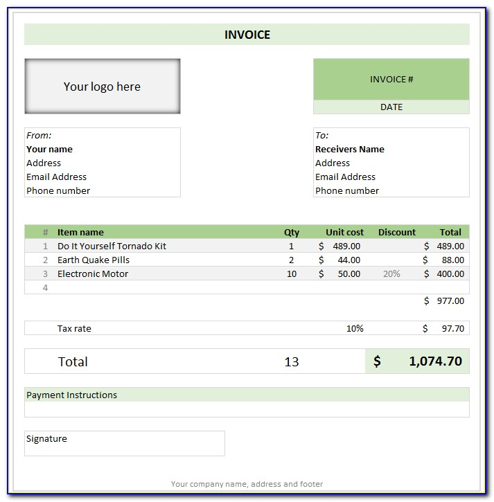 Microsoft Excel Invoice Template Free Download