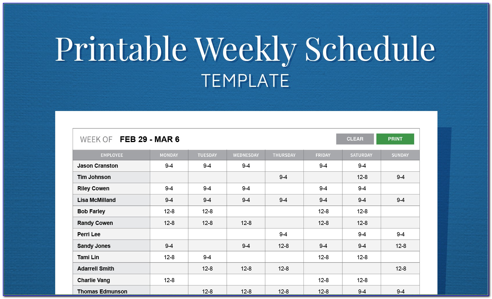 Microsoft Excel Monthly Employee Schedule Template