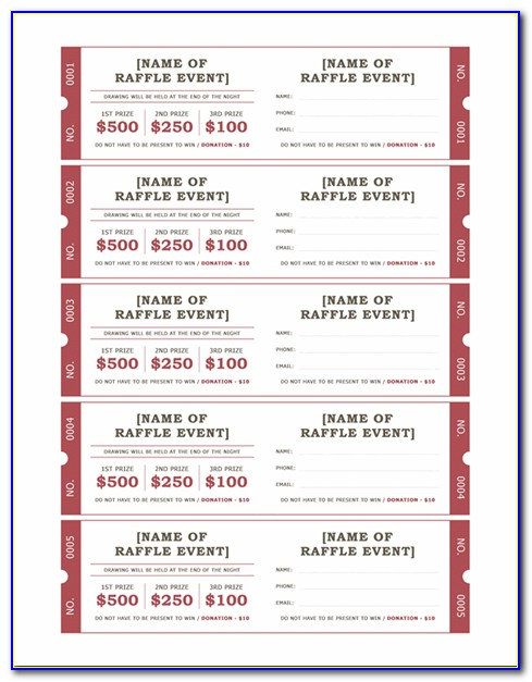 Microsoft Excel Raffle Ticket Template