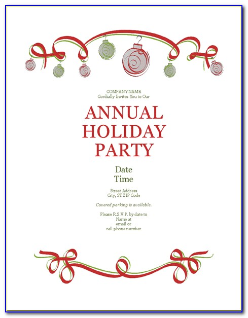 Microsoft Office Holiday Party Invitation Templates