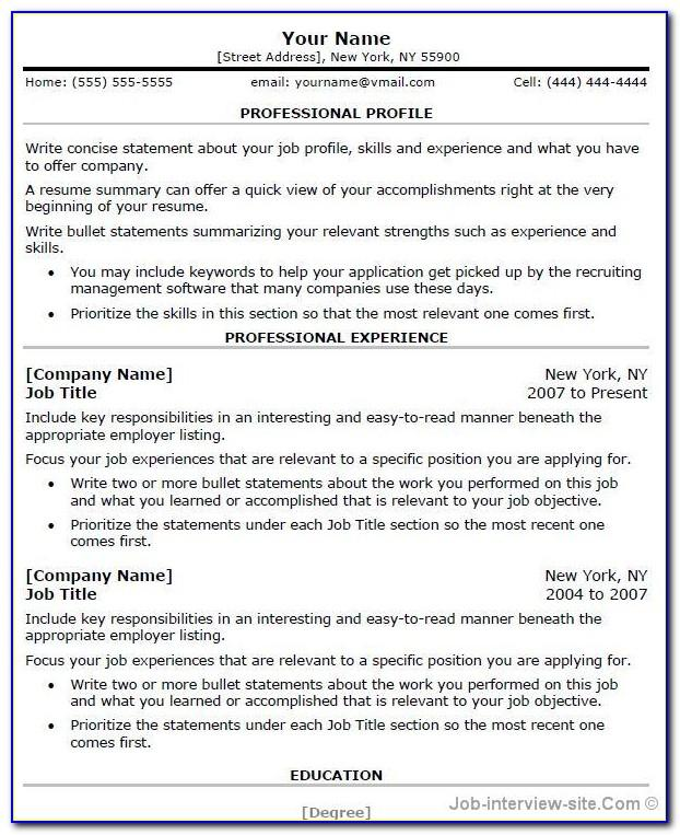 Microsoft Office Professional Resume Templates