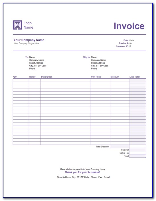 Microsoft Office Publisher Invoice Templates