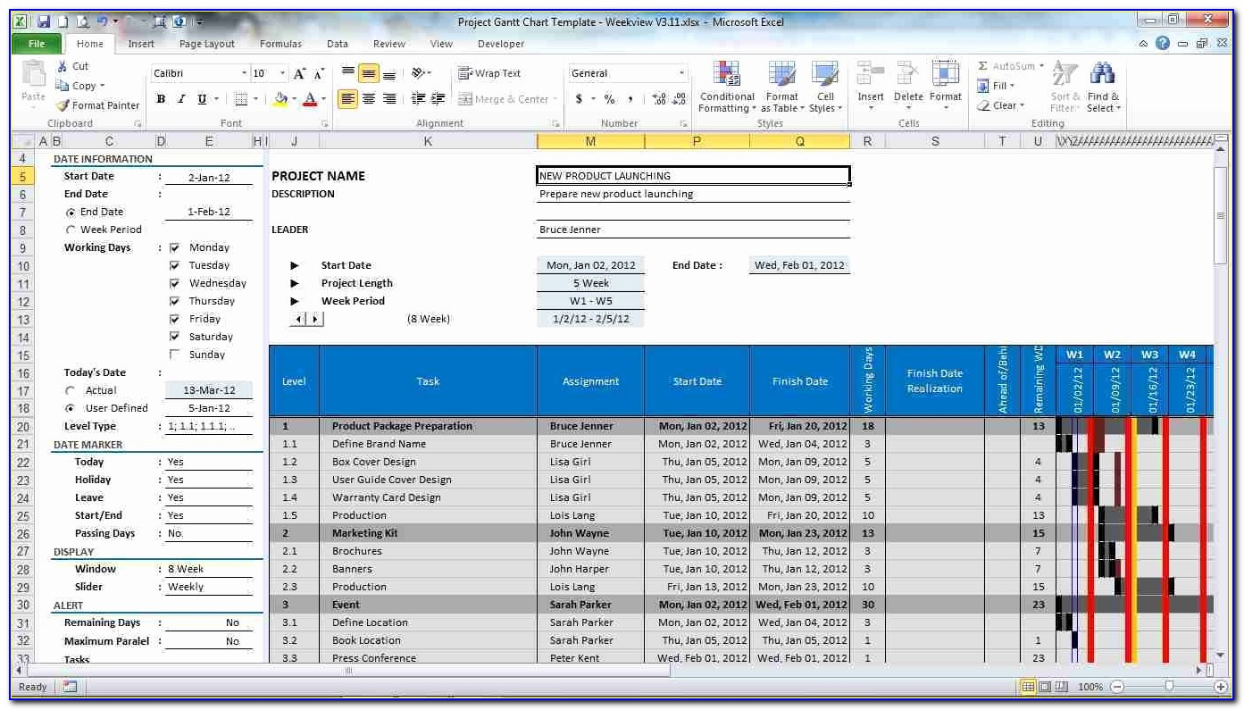 Microsoft Project Planner Template Project Management Spreadsheet Within Project Planning Template Free Download