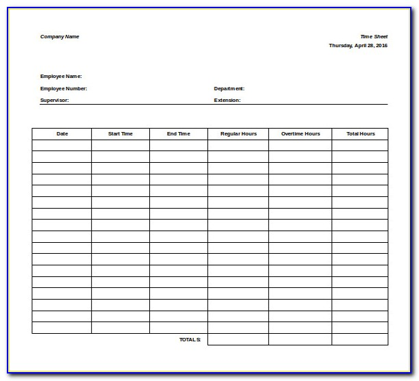 Microsoft Timesheet Template Free Download