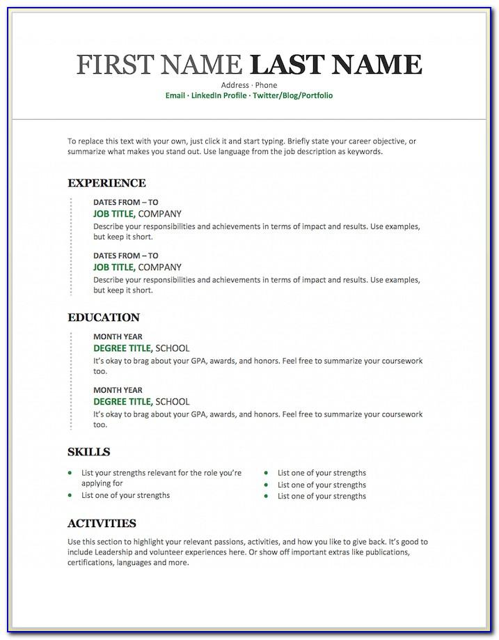 Microsoft Word Templates For Resume
