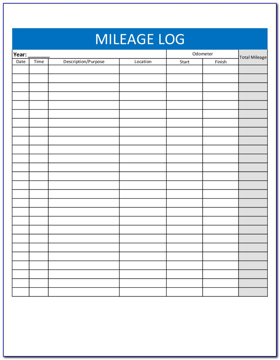 Mileage Forms Template