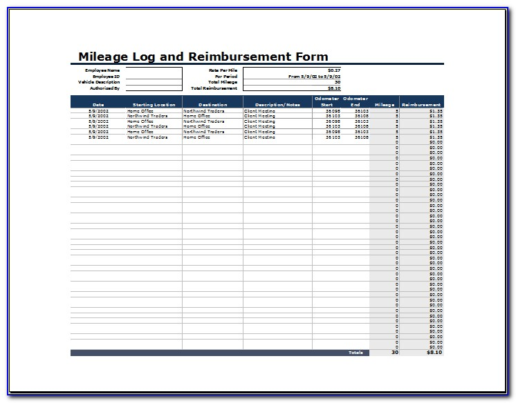 Mileage Reimbursement Template Excel