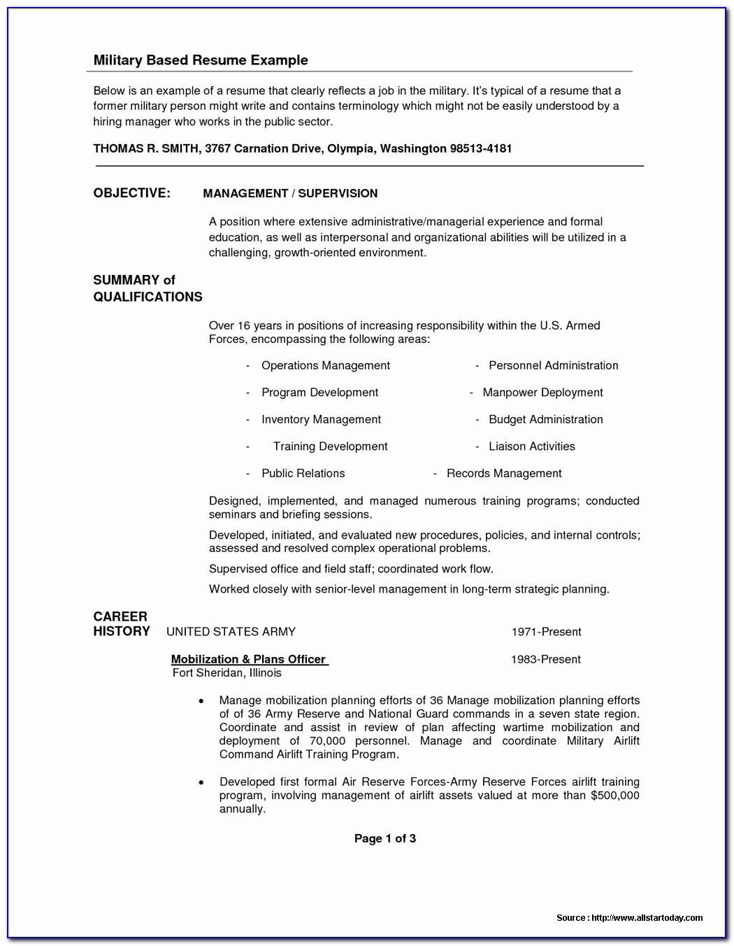 And Free Military Resume Templates