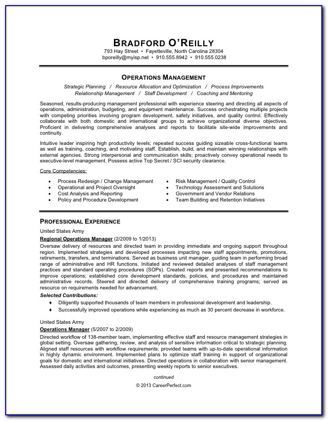 Military To Civilian Resumes Examples