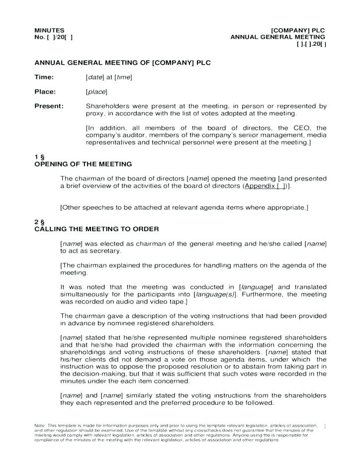 Minutes Of Annual Shareholders Meeting Template