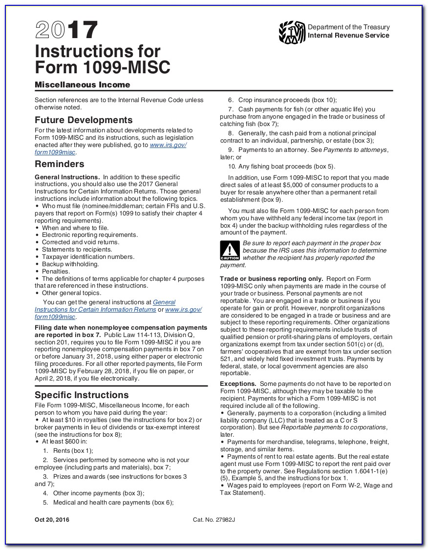 Misc 1099 Form 2016