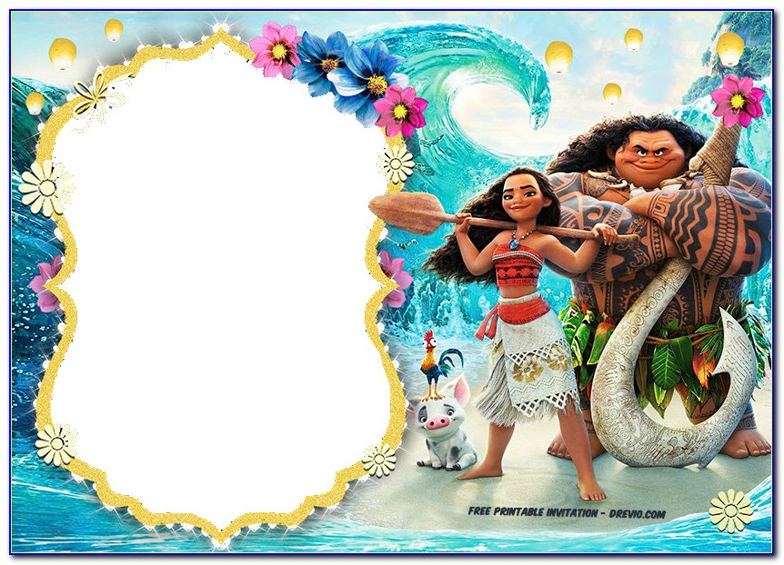 Moana Invitation Designs