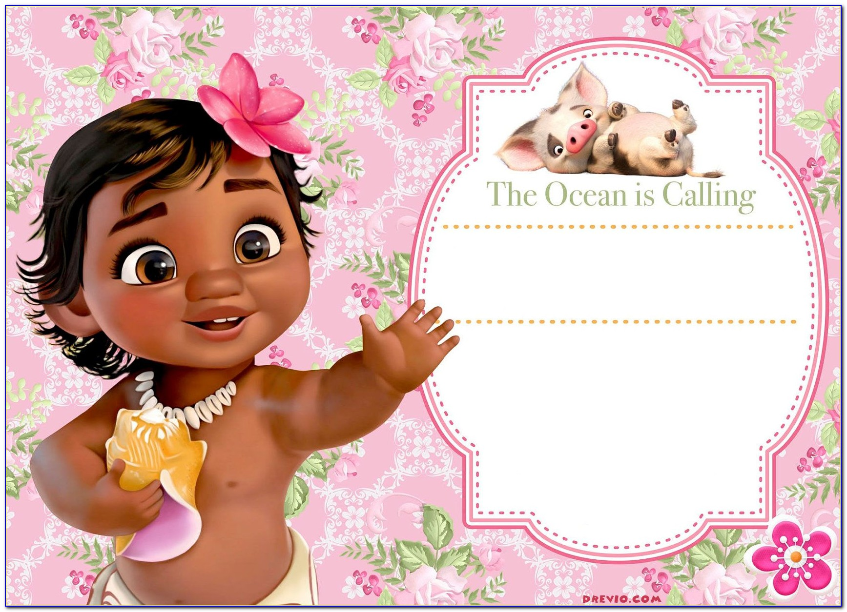 Moana Invitation Template Free
