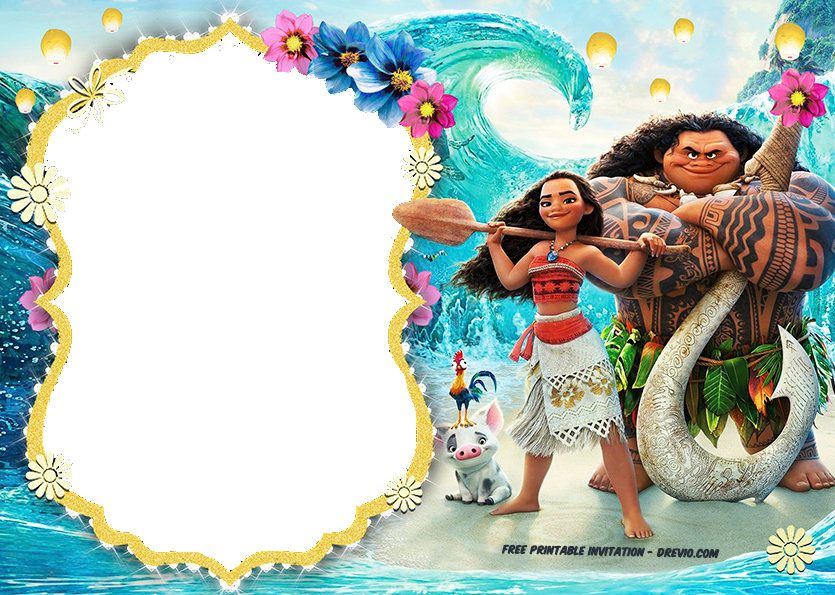 Moana Party Invitations Free Template