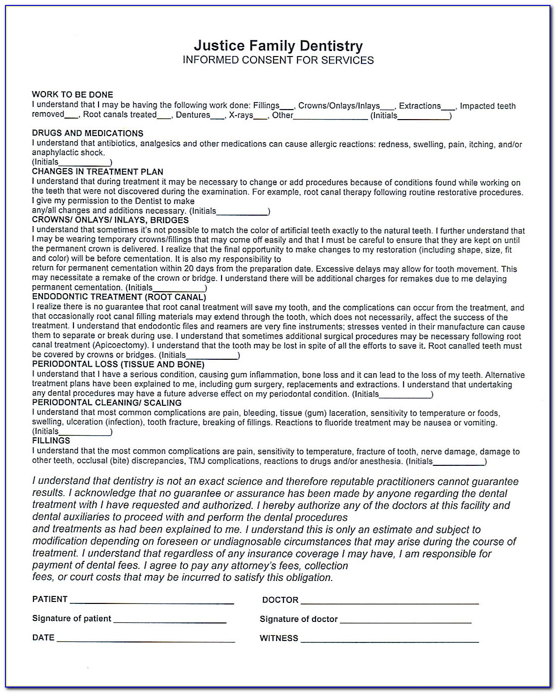 Mobile Teeth Whitening Consent Form