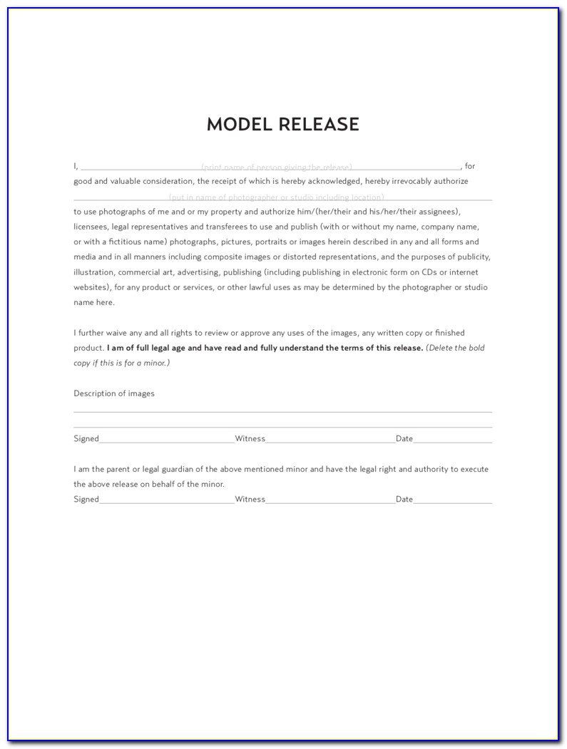 Model Release Form 8 Free Templates In Pdf, Word, Excel Download Inside Model Release Form Template