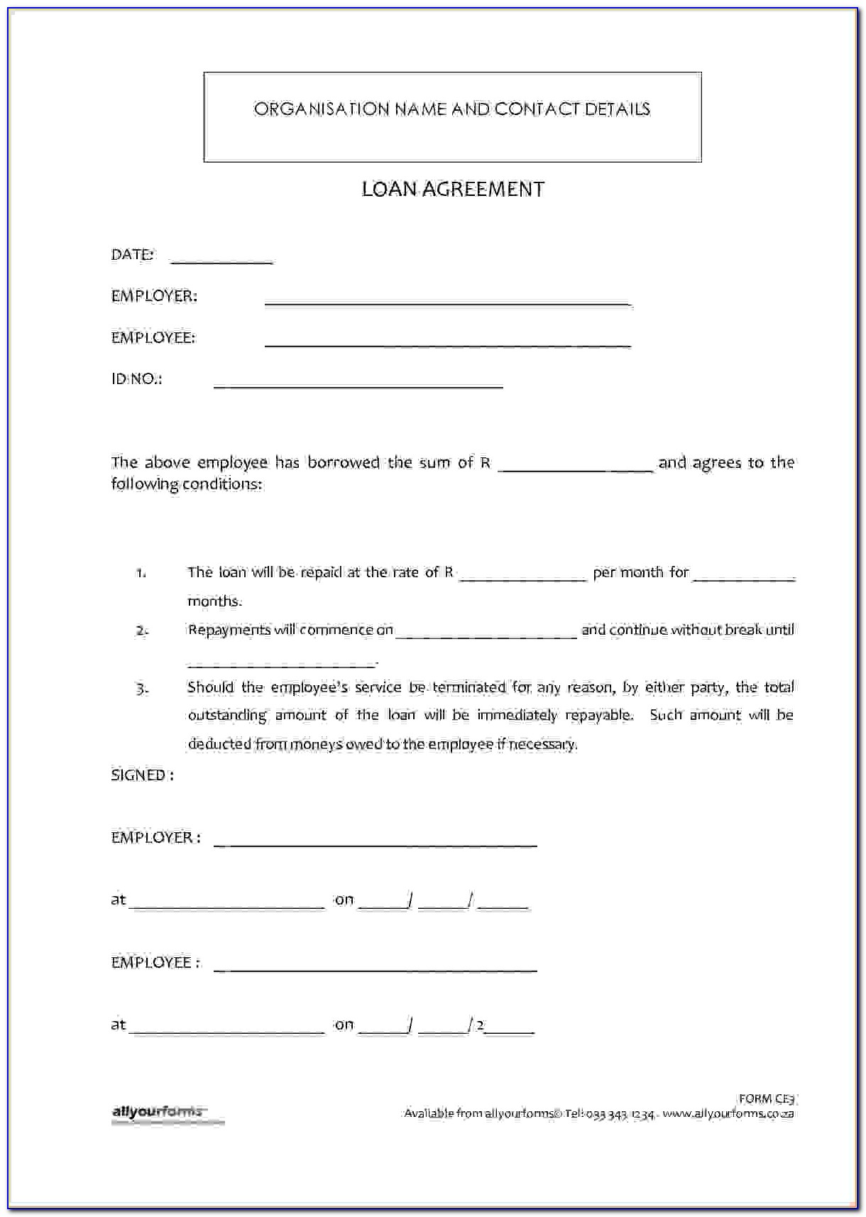 Money Loan Contract Template