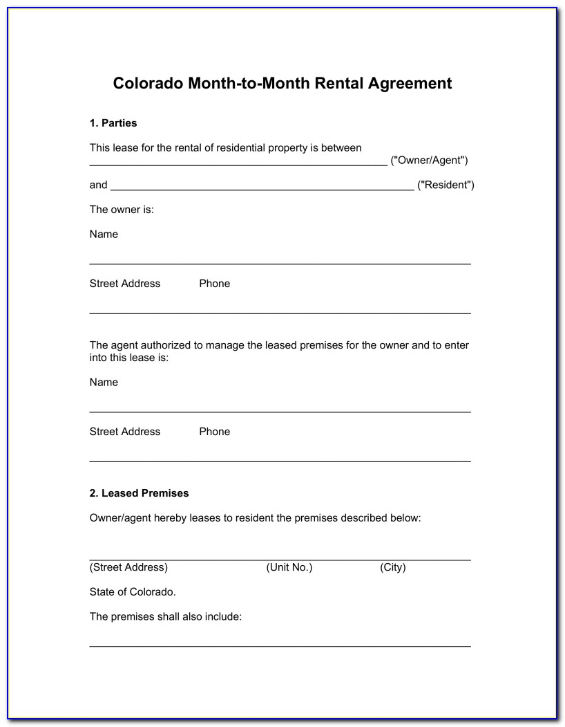 Month To Month Rental Agreement Template Ca