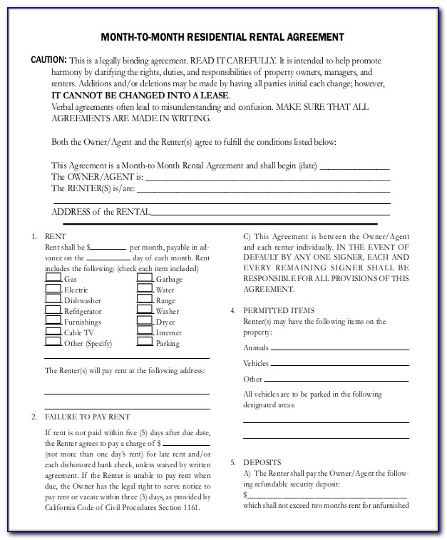Month To Month Rental Agreement Template Word