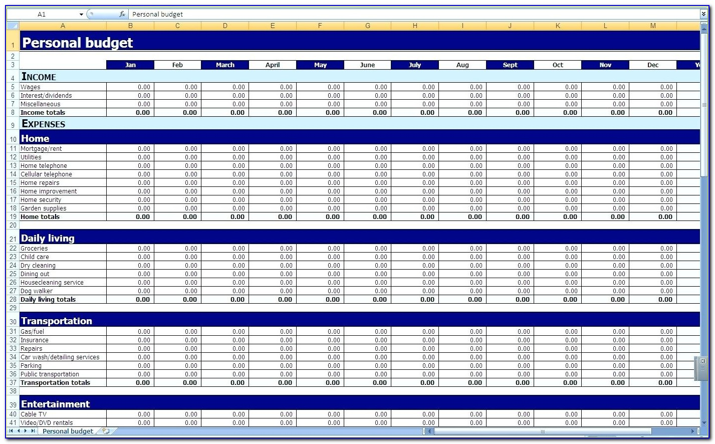 Monthly Balance Sheet Excel Template