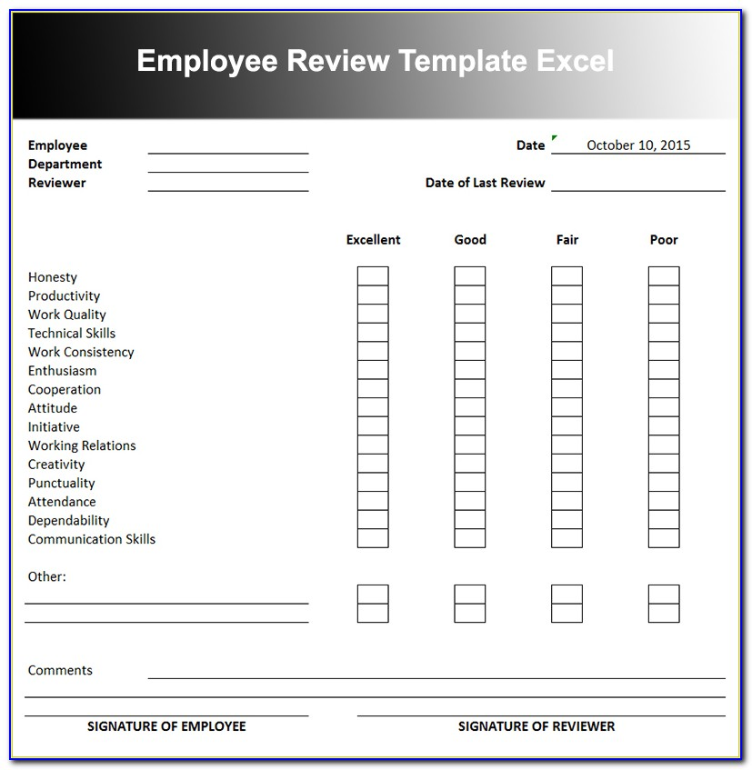 Monthly Employee Performance Review Template Excel