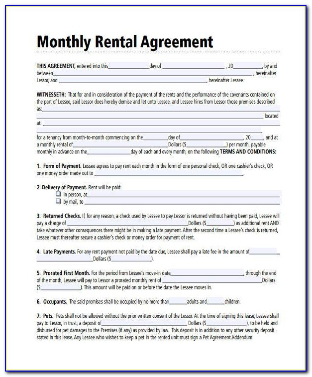 Monthly Rental Agreement Form Pdf