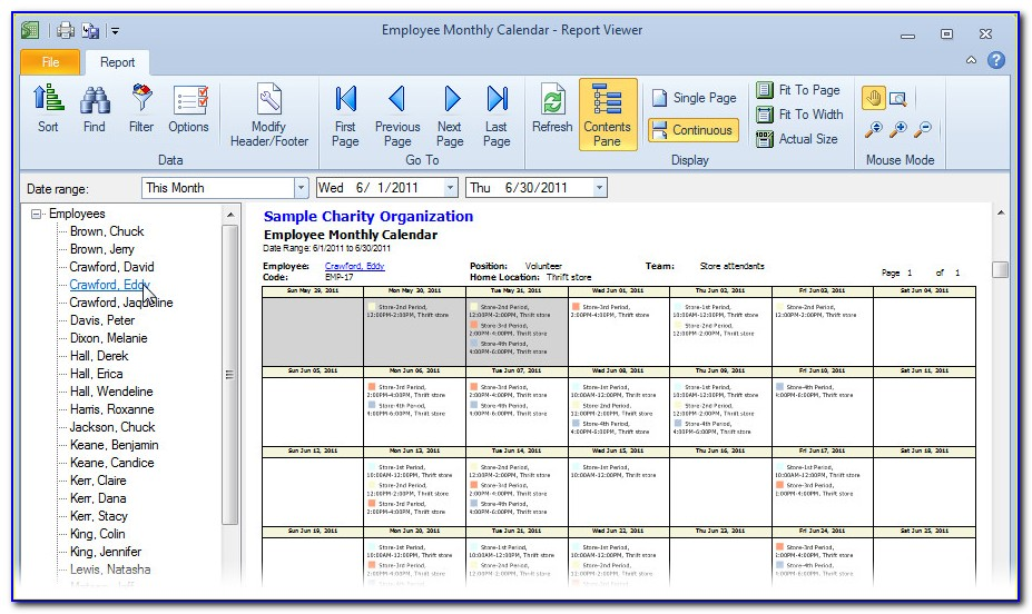 Monthly Staff Schedule Template Free