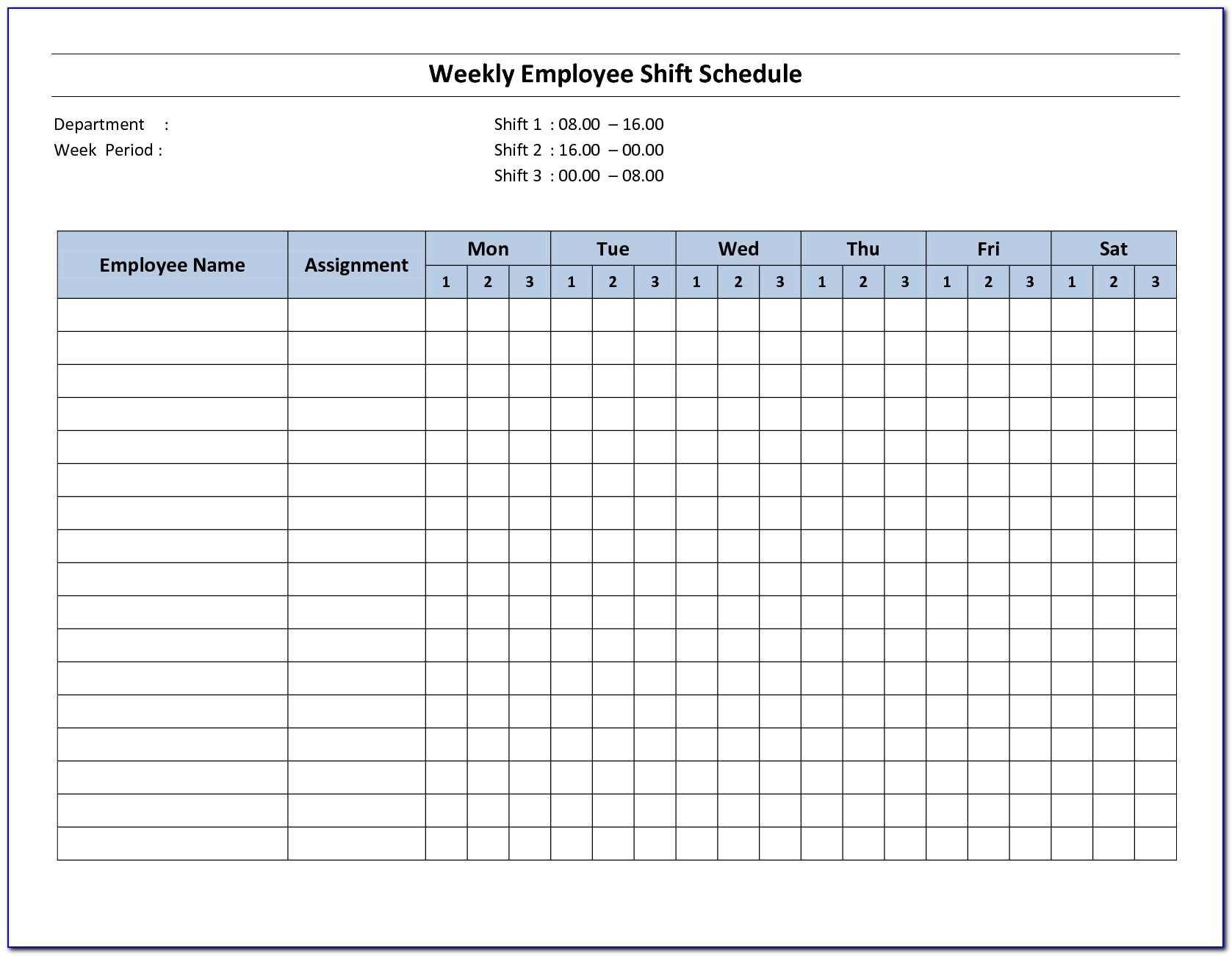 Monthly Work Schedule Template Excel Free