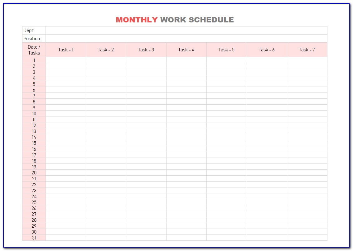 Monthly Work Schedule Template Xls