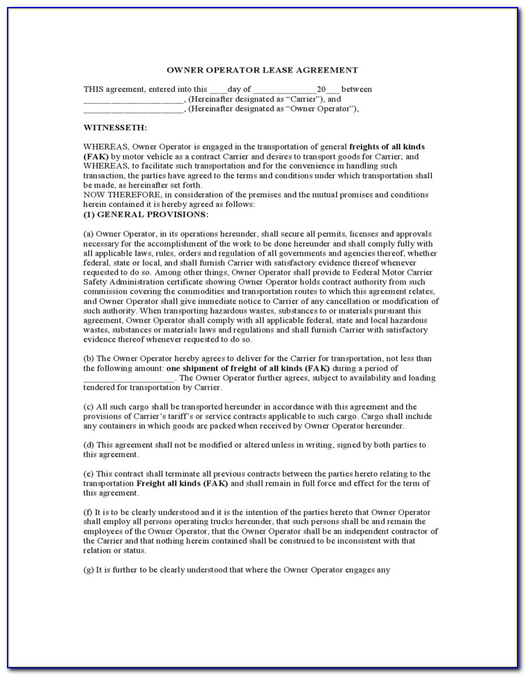 Motor Carrier Lease Agreement Form