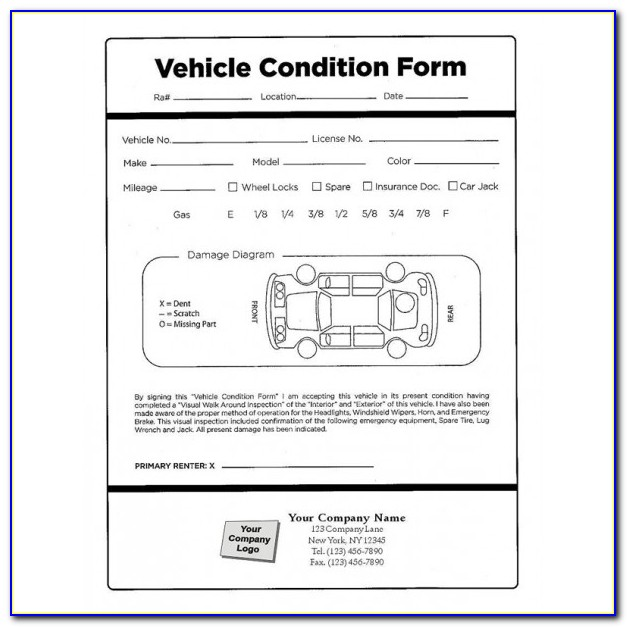 Motor Vehicle Inspection Report Form Sample
