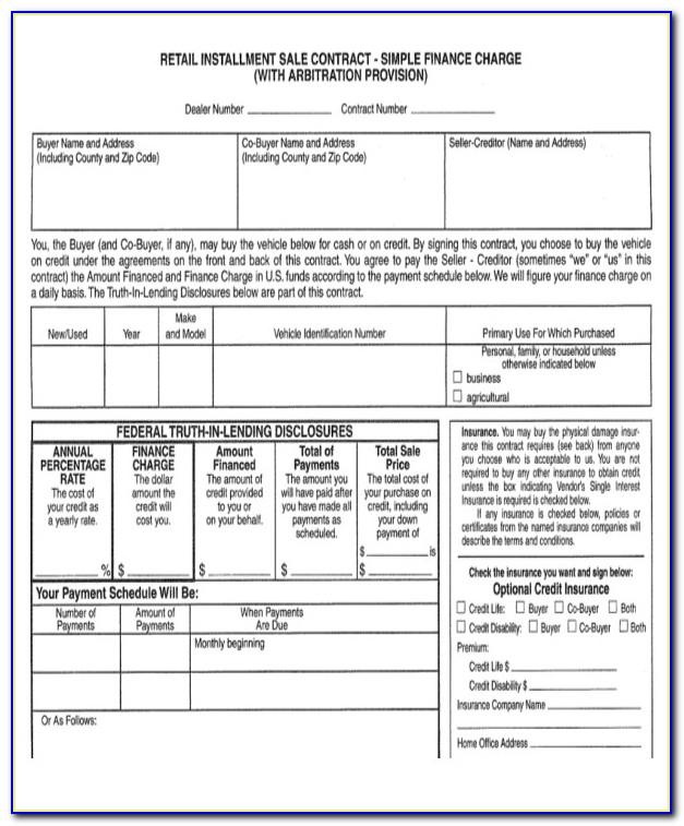 Motor Vehicle Retail Installment Sales Contract Template