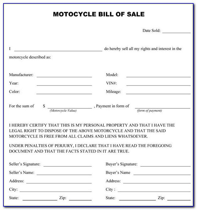 Motorcycle Purchase Contract Template
