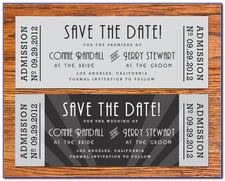 Movie Ticket Save The Date Template