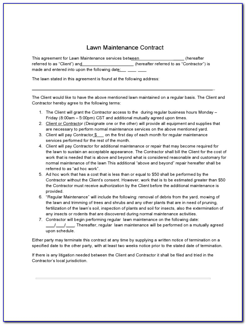 Mowing Contract Forms