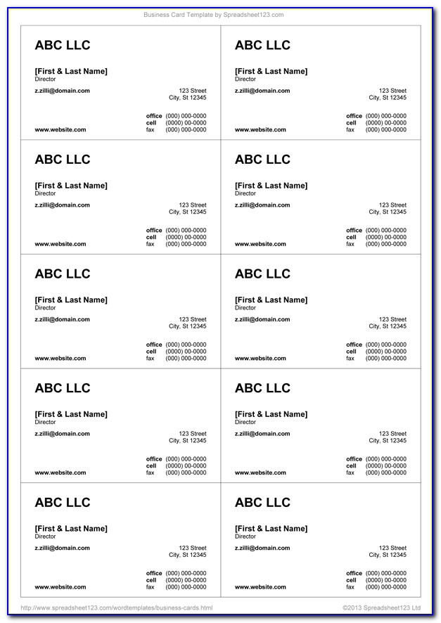 Ms Word 2003 Business Card Template
