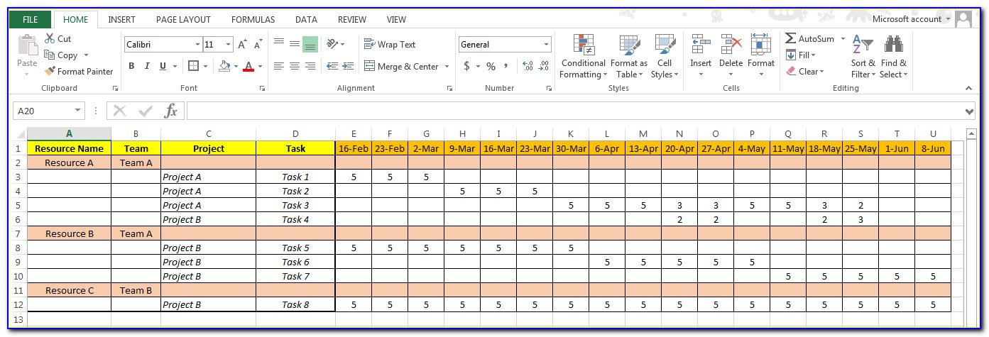 Multiple Project Resource Planning Excel Template Free