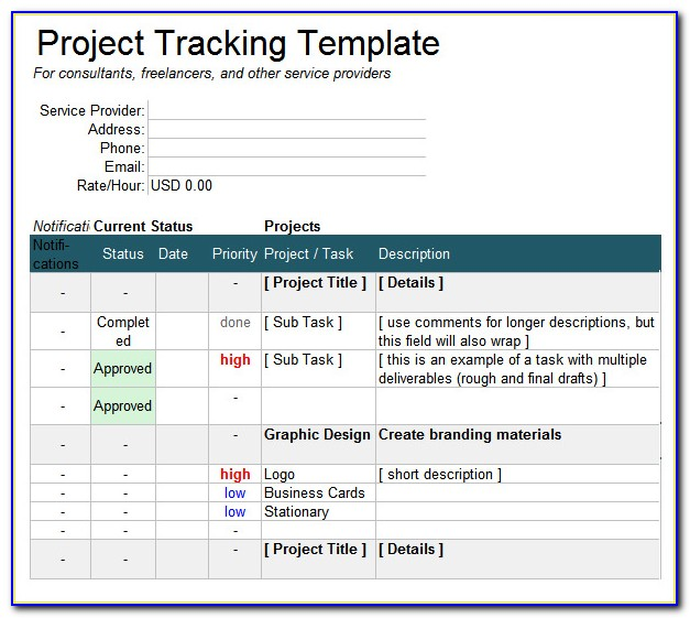 Multiple Project Tracking Template Excel Xls