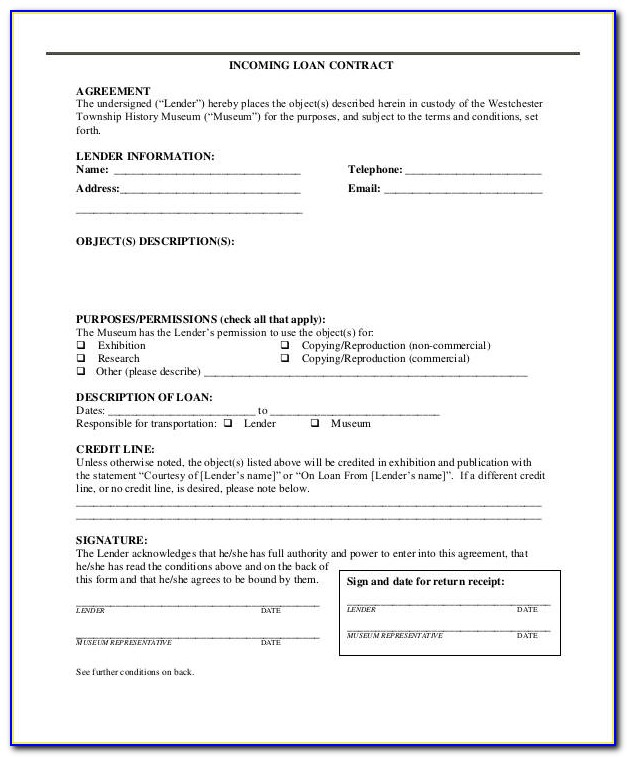 Museum Incoming Loan Agreement Template
