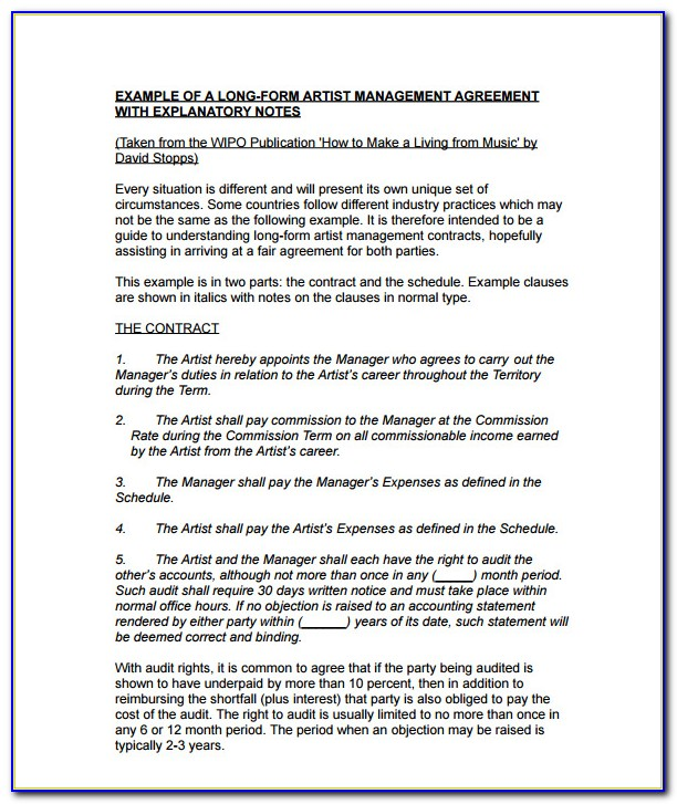 Music Artist Management Contract Template Uk