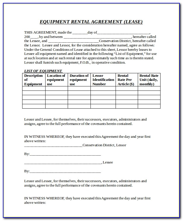 Music Equipment Rental Contract Template