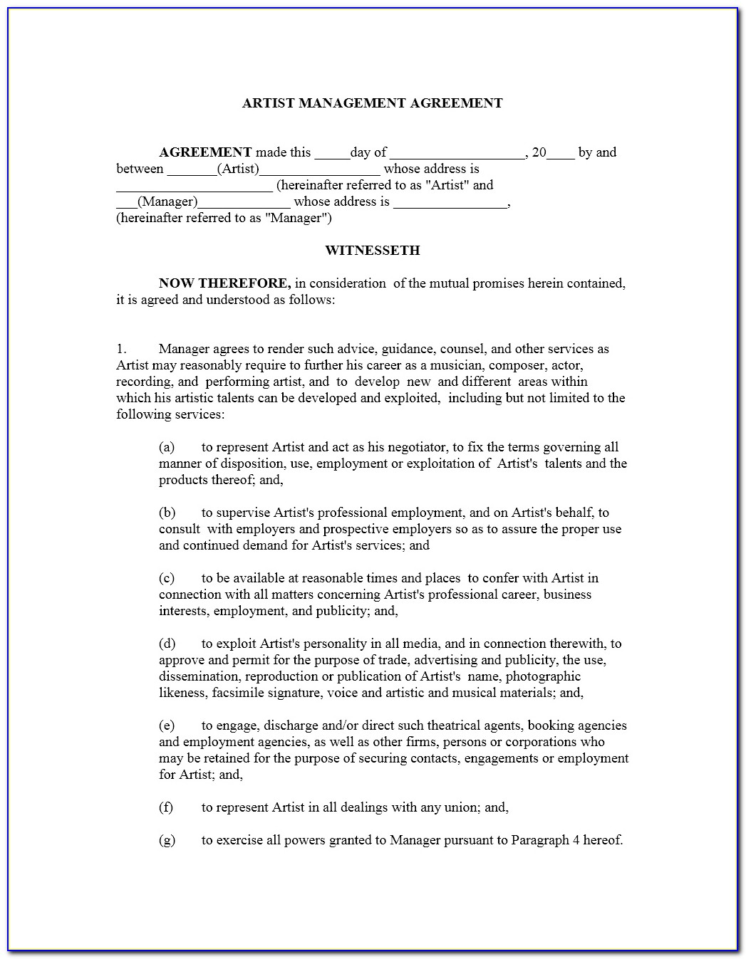 Music Management Contract Template